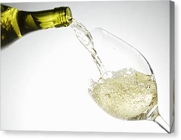 Pouring Wine Canvas Print - White Wine Pouring Into Glass by Brett Stevens