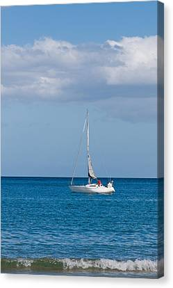 White Yacht Sails In The Sea Along The Coast Line Canvas Print by Ulrich Schade