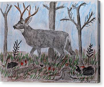 Whitetail Deer In A Meadow Canvas Print