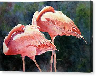 Canvas Print featuring the painting Who's Peek'n - Flamingos by Roxanne Tobaison