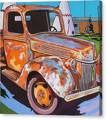 Rusted Cars Canvas Print - Wigwam Motel by Sandy Tracey