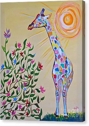 Wild And Crazy Giraffe Canvas Print by Phyllis Kaltenbach