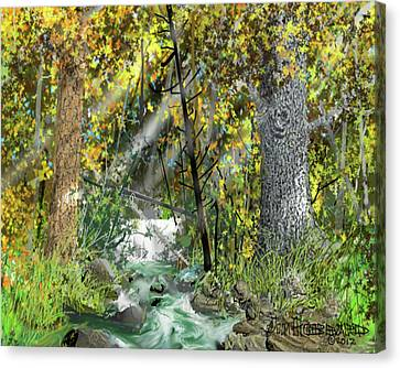 Canvas Print featuring the drawing Wild Creek - October by Jim Hubbard