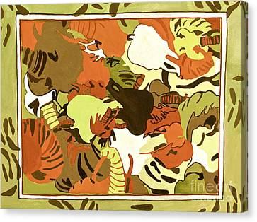 Wild Elephants Brown Canvas Print by Beth Saffer