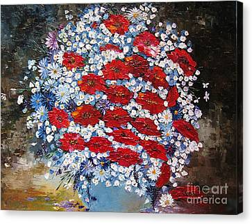 Canvas Print featuring the painting Wild Flowers by AmaS Art