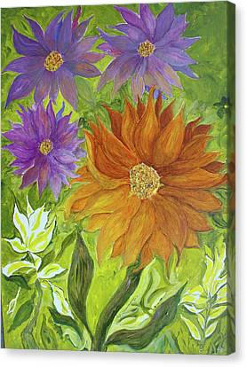 Canvas Print featuring the painting Wild Flowers by Joy Braverman