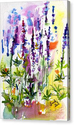 Wild Lupines Watercolor By Ginette Canvas Print by Ginette Callaway