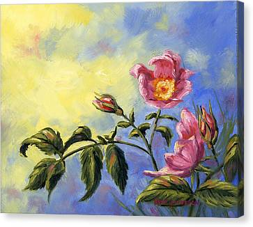 Canvas Print featuring the painting Wild Rose by Kurt Jacobson