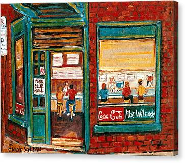 Wilensky Lunch Counter Sandwich Shop Montreal City Scene Canvas Print by Carole Spandau