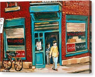 Wilenskys Lunch Counter  Fairmount Montreal Street Scene Canvas Print by Carole Spandau
