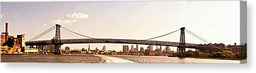Williamsburg Bridge And The New York City Skyline Panorama Canvas Print by Vivienne Gucwa