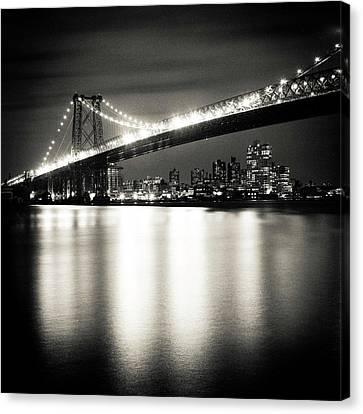 Williamsburg Bridge At Night Canvas Print by Adam Garelick