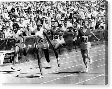 Wilma Rudolph, Winning The Womens Canvas Print by Everett