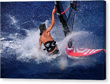 Wind Surfing Canvas Print by Manolis Tsantakis