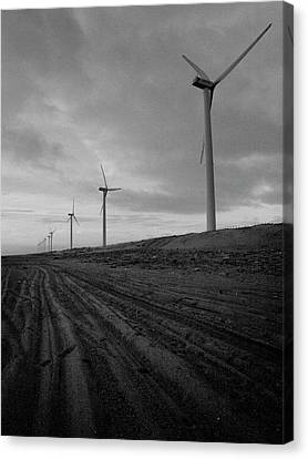 Wind Turbine Plant On Beach Canvas Print by KUJIRAI kentaro