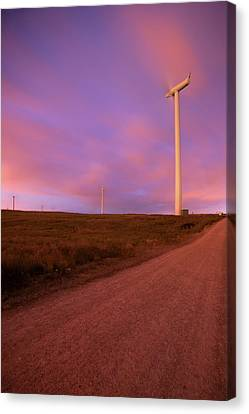 Wind Turbines At Night Canvas Print by photography by Spencer Bowman