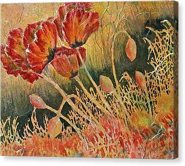 Windblown Poppies Canvas Print by Carolyn Rosenberger