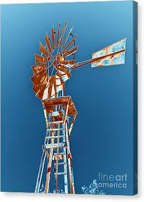 Windmill Rust Orange With Blue Sky Canvas Print