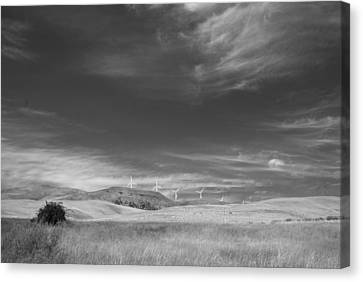 Canvas Print featuring the photograph Windmills In The Distant Hills by Kathleen Grace