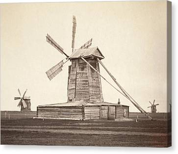 Windmills Near Omsk, Siberia Canvas Print by Everett