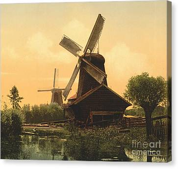 Windmills On The Noordendijk Canvas Print by Padre Art
