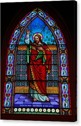 Jesus Christ Icon Canvas Print - Window In Trinity Church Iv by Steven Ainsworth