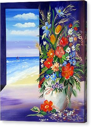 Canvas Print featuring the painting Window On The Beach by Roberto Gagliardi