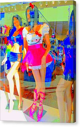 Window Shopping Hello Kitty Canvas Print by Randall Weidner