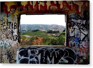 Window Through The Paint Canvas Print
