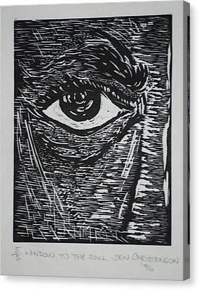 Lino-cut Canvas Print - Window To The Soul by Jennifer Christenson