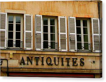 Canvas Print featuring the photograph Windows Of Antiquites by Laurel Talabere