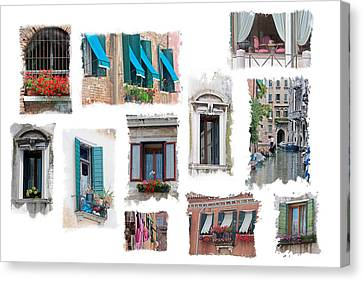 Canvas Print featuring the photograph Windows Of Venice by Judy Deist