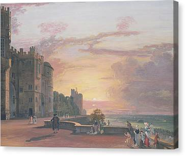 Windsor Castle North Terrace Looking West At Sunse Canvas Print by Paul Sandby