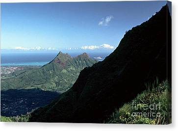 Windward Oahu From The Koolau Mountains Canvas Print by Thomas R Fletcher