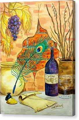 Wine And Feather Canvas Print by Lee Halbrook