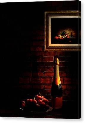 Wine And Grape Canvas Print by Lourry Legarde
