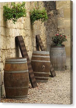 Wine Barrels And Racks In Saint Emilion France Canvas Print by Greg Matchick