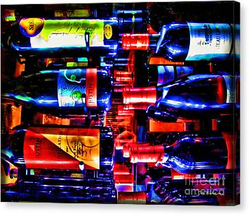 Wine Bottles Canvas Print by Joan  Minchak