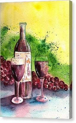 Still Life Of Wine And Grapes Canvas Print - Wine For Two - 2 by Sharon Mick