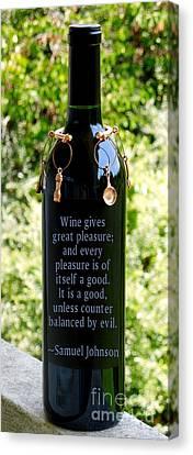 Wine Gives Great Pleasure Canvas Print by Renee Trenholm