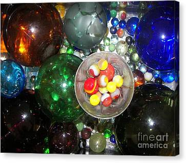 Wine Glass And Marbles Canvas Print by Rachel Carmichael