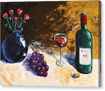 Canvas Print featuring the painting Wine Grapes And Roses Still Life Painting by Mark Webster