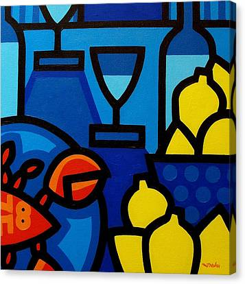 Wine Lobster Lemons  Canvas Print by John  Nolan