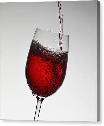 Pouring Wine Canvas Print - Wine Pouring Into Wine Glass by Walter Zerla