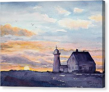 Keeper Canvas Print - Wings Neck Lighthouse Bourne Massachusetts Watercolor by Michelle Wiarda-Constantine