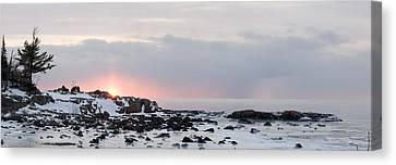 Winter Along Lake Superior At Sunrise Canvas Print by Susan Dykstra