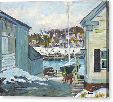 Winter At Gloucester Harbor Canvas Print by Chris Coyne