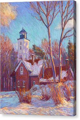 Winter At The Lighthouse Canvas Print by Michael Camp