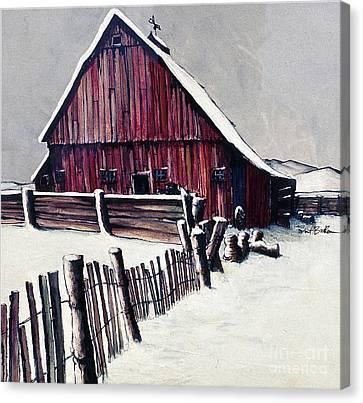 Winter Barn Canvas Print by Robert Birkenes