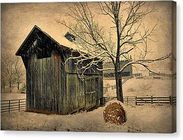 Winter Barn Canvas Print by Todd Hostetter